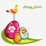 Cesta abstracta con los huevos coloreados stock de ilustración