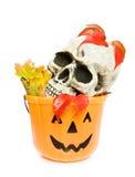 Cesta assustador do crânio e da abóbora de Halloween Imagens de Stock Royalty Free