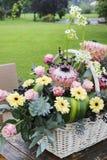 Cesta blanca del wicket con el gerbera y las flores color de rosa imágenes de archivo libres de regalías