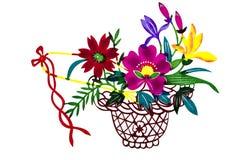 Cesta china de la flor del color del papel-corte imagen de archivo libre de regalías