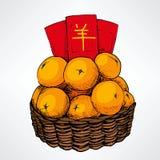 Cesta chinesa da tangerina do ano novo Fotografia de Stock