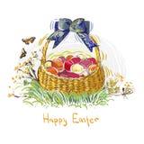 Cesta colorida da flor do projeto do estilo da pintura do vetor dos ovos da p?scoa ilustração royalty free