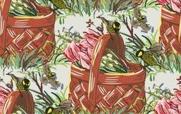 Cesta colorida de la flor del dise?o del estilo de la pintura del vector libre illustration