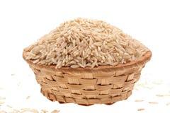 Cesta com arroz Fotografia de Stock