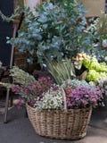Cesta com as orelhas do centeio, aveia, várias flores secadas, ramalhete, venda, imagens de stock