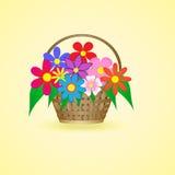 Cesta com flores bonitas Fotografia de Stock