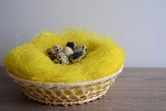 Cesta com os ovos de codorniz na tabela de madeira Fotografia de Stock Royalty Free
