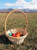 Cesta com ovos de Easter Fotos de Stock