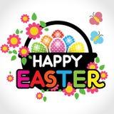 Cesta com ovos e as flores coloridos Imagens de Stock