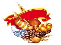 Cesta com pão ilustração stock