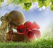 Cesta com tulipas Imagens de Stock