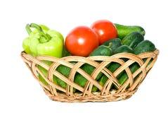 Cesta com vegetais Foto de Stock Royalty Free