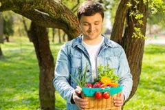 Cesta com vegetais e frutos nas m?os de um fundo do fazendeiro da natureza Conceito do estilo de vida saud?vel imagem de stock