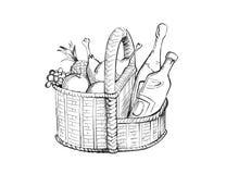 Cesta con el alimento Foto de archivo libre de regalías
