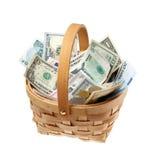 Cesta con el dinero Imagen de archivo libre de regalías