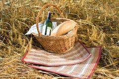 Cesta con la botella del pan, del alimento y de vino Fotografía de archivo