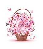 Cesta con las flores para su diseño libre illustration