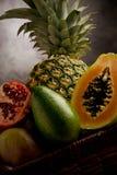 Cesta con las frutas tropicales Imágenes de archivo libres de regalías