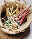 Cesta con las legumbres secadas Fotos de archivo libres de regalías