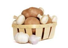 Cesta con las patatas y las setas Fotografía de archivo libre de regalías