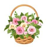 Cesta con las rosas rosadas y blancas Ilustración del vector Fotos de archivo