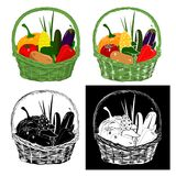 Cesta con las verduras stock de ilustración