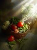 Cesta con las verduras Fotografía de archivo libre de regalías