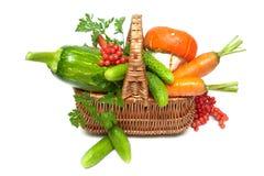 Cesta con las verduras y las bayas del cierre del viburnum para arriba en un whi Fotografía de archivo
