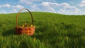 Cesta con los huevos de Pascua teñidos entre la hierba verde 3D