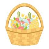 Cesta con los huevos de Pascua y las flores del resorte Vector ilustración del vector