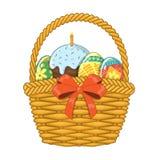 Cesta con los huevos y la torta de Pascua Fotografía de archivo libre de regalías