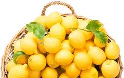 Cesta con los limones Fotos de archivo