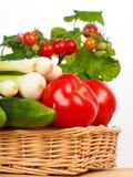 Cesta con los tomates y el pepino de la cebolla Imagenes de archivo