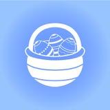 Cesta da Páscoa com ícone dos ovos Imagem de Stock Royalty Free