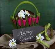 Cesta da Páscoa de ovos da páscoa do chocolate Imagem de Stock