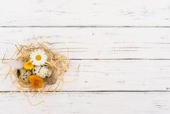 Cesta da Páscoa feita da palha com a decoração pequena dos ovos e das flores no fundo de madeira branco Imagens de Stock