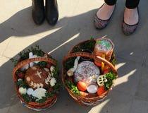 Cesta da Páscoa, ovos, Páscoa ortodoxo, Fotos de Stock Royalty Free