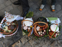 Cesta da Páscoa, ovos, Páscoa ortodoxo, Imagem de Stock