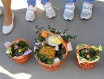 Cesta da Páscoa, ovos, Páscoa ortodoxo, Imagens de Stock