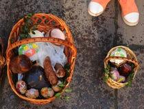 Cesta da Páscoa, ovos, Páscoa ortodoxo, Imagem de Stock Royalty Free