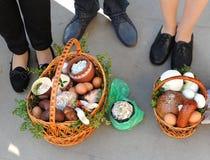 Cesta da Páscoa, ovos, Páscoa ortodoxo, Fotografia de Stock