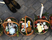 Cesta da Páscoa, ovos, Páscoa ortodoxo, Foto de Stock