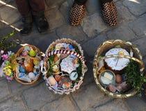 Cesta da Páscoa, ovos, Páscoa ortodoxo, Fotos de Stock