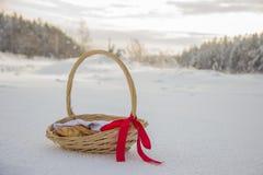 Cesta da palha com a fita do tampão vermelho com tortas e maçãs na neve Imagem de Stock
