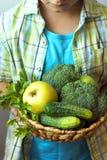 Cesta da posse da pessoa com vegetais verdes Imagem de Stock
