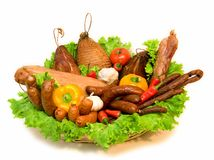 Cesta das carnes e dos vegetais foto de stock royalty free