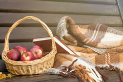 Cesta das maçãs em um banco concepção do outono Fotos de Stock