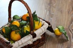 Cesta de Año Nuevo de los mandarines Fotos de archivo