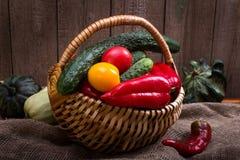 Cesta de aún-vida de las verduras Imagen de archivo libre de regalías
