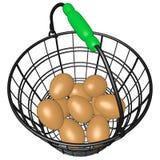 Cesta de alambre de huevos Imágenes de archivo libres de regalías